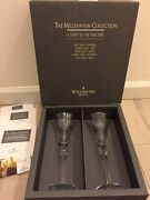 Waterford Crystal Millennium Collection Flutes 1st Toast Happiness Nib 2000