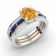 2.39 Ct Citrine Blue Sapphire And Diamond Two-tone 14k White Gold Engagement Ring
