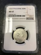 1933 50 Mils Ngc Ms62 Silver Coin Palestine - Israel - Rare