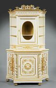 Continental Carved And Gilt Decorated Creme Peinte Cabinet