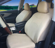 2 Front Tan Beige Leatherette Auto Car Seat Cushion Covers - Universal 15903
