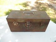 Antique Green Fishing Tackle Box Metal One Tray 14 X 6 X 7