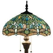 Blue Dragonfly Reading Floor Lamp Style Light Stained Glass Shade 110v
