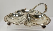 Antique Silverplate Sheffield Silver Maple And Co London Nut Dish Leaf Shaped