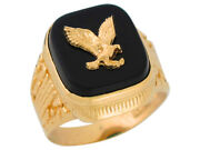 10k Or 14k Yellow Gold Bold Black Onyx Mens Patriotic Eagle Wide Classy Ring