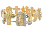 10k Or 14k Two-tone Gold White Cz Face Of Jesus Praying Hands And Cross Bracelet