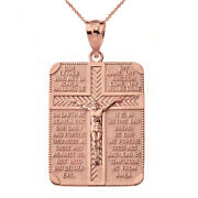 Solid 14k Rose Gold The Lord's Our Father Prayer Crucifix Pendant Necklace
