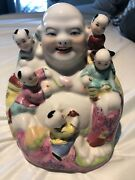 Late1800andrsquos Early 1900andrsquos Antique Stamped Porcelain Laughing Buddah With Children