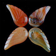 4pcs Charming Carved Wing Red Agate Pendant Bead Lxcb13