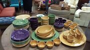 Pottery Barn Sausalito Dinner Service For 12 - Amber, Sage And Plum