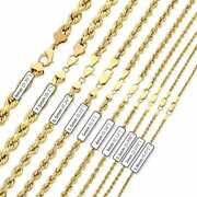 10k Yellow Gold 1.8mm-9mm Hollow Rope Chain Necklace 16-30