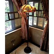 Style Torchiere Floor Lamp Brown Jewels Stained Glass Shade Bronze Base