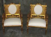 A Pair Of 19th Century Ornate Continetal French Louis Xvi Cane Chairs