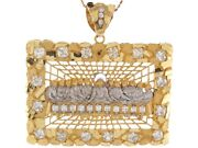 10k Or 14k Two Tone Gold White Cz Accents 6.2cm Last Supper Christian Pendant