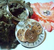 Hand Stamped Personalized Family Penny Keychain Customized Lucky Penny Keyring