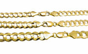 Solid 14k Yellow Gold 5.5mm-8mm Curb Chain Cuban Link Necklace 16-30