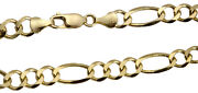 14k Solid Yellow Gold Figaro Link Chain Necklace 7mm Men's Women Sz 20-30