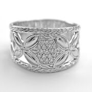 John Hardy Ring Size 6.25 Sterling Silver And Diamonds Kawung - Estate Jewelry