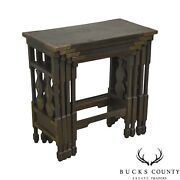 Arts And Crafts Antique Oak Asian Inspired Nesting Tables