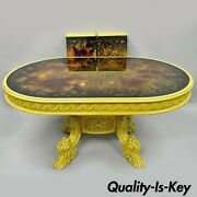 French Baroque Rococo Style Oval Eglomise Art Glass Top Yellow Dining Table