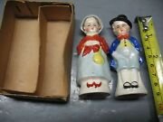 Salt And Pepper Shakers Occupied Japan Young Boy And Girl Cork Stoppers
