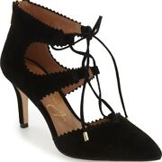 Arturo Chiang Georgiane Ghillie Pointy Toe Lace Up Pump Suede Black Sz 9 New