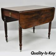 19th Century Mahogany Sheraton Drop Leaf Dining Table Turn Carved Spiral Legs
