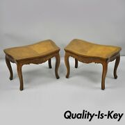 Pair Vtg Walnut Low Demilune Small Side Accent Pedestal End Tables Attr Baker