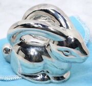 And Co. Sterling Silver Bunny Baby Teether Rattle In Pouch And Box