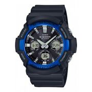 Casio G-shock Menand039s Tough Solar Blue Accent Black Resin 52mm Watch Gas100b-1a2