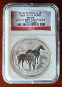 2014 Horse Ngc Ms69 First 1000 Minted 1 Dollar Australia Silver 1oz Perth Mint
