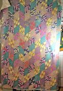 Vintage Hand Pieced Quilt Scrappy Feed Sack Fabric Diamond Patches 80 X 56 Cot