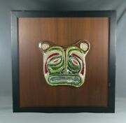 Vtg Mcm Ceramic On Wood Animal Face Art Pottery Plaque Wall Hanging