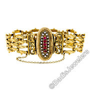 Antique Victorian 14k Yellow Gold Natural Ruby And Pearl 6.5 Chain Link Bracelet