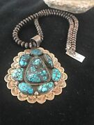 Old Pawn Handmade Navajo Pearls Sterling Silver Web Turquoise Necklace T1001