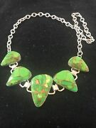 Native American 18 Green Mohave Turquoise Sterling Silver Necklace Usa T1003