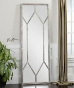 Oversized Champagne Silver Leaf Wall Floor Mirror Large 79'' Xl French Country