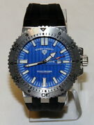 Swiss Legend Menand039s Challenger 10126 Stainless Steel Black Silicone Strap Blue