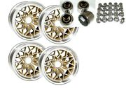 Trans Am 15x8 Gold Snowflake Wheel Kit W/ New Lug Nuts Stainless Center Caps