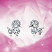 925 Silver Earrings Made With Crystal Poodle Dog Stud Baby Jewelry