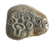 Pre Columbian Polished Jade Stone Maskette Mayan Pectoral Ornament Two Faces.