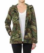 Womenand039s Camouflage Anorak Military Camo Drawstring Hooded Jacket S-l
