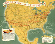 American Airlines -aa- North America Route Map 1949