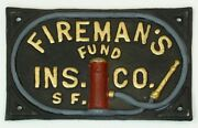 Antique-replica Cast Iron Fireman's Fund Ins. Co. Sf. 7-3/4 Wall Plaque Sign