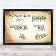 A Thousand Years Man Lady Couple Song Lyric Quote Print