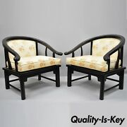 Pair James Mont Style Horseshoe Ming Lounge Armchairs By Century Chair Co. B
