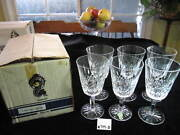 6 Waterford Lismore Water Goblets W/older Box 6 7/8h Excellent Condition.