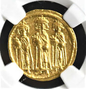 Byzantine Heraclius Gold Solidus, 610-641 A.d., Ngc Grade Ch Au