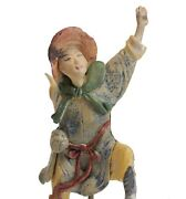 19th C Chinese Polychrome Stucco Roof Figure Character With Blue Jacket Yellow