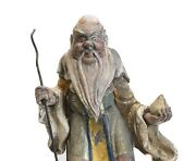 19th C Chinese Polychrome Stucco Roof Figure Elegant Elderly Figure With Staff
